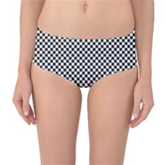Sports Racing Chess Squares Black White Mid Waist Bikini Bottoms by EDDArt