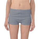 Sports Racing Chess Squares Black White Reversible Boyleg Bikini Bottoms
