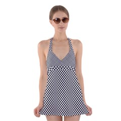 Sports Racing Chess Squares Black White Halter Swimsuit Dress by EDDArt
