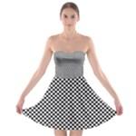 Sports Racing Chess Squares Black White Strapless Bra Top Dress