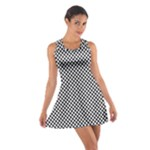 Sports Racing Chess Squares Black White Cotton Racerback Dress