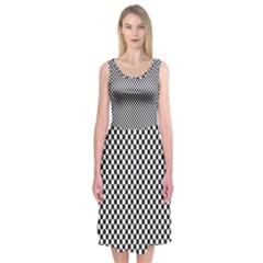Sports Racing Chess Squares Black White Midi Sleeveless Dress by EDDArt