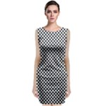 Sports Racing Chess Squares Black White Classic Sleeveless Midi Dress