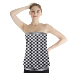 Sports Racing Chess Squares Black White Strapless Top by EDDArt