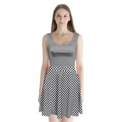 Sports Racing Chess Squares Black White Split Back Mini Dress  by EDDArt
