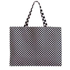 Sports Racing Chess Squares Black White Medium Tote Bag by EDDArt