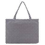 Sports Racing Chess Squares Black White Medium Zipper Tote Bag