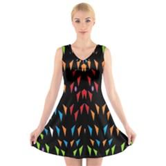 ;; V Neck Sleeveless Skater Dress by MRTACPANS