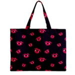 Pattern Of Vampire Mouths And Fangs Zipper Mini Tote Bag