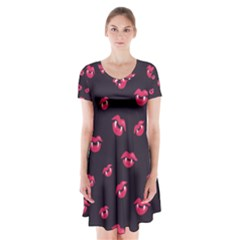 Pattern Of Vampire Mouths And Fangs Short Sleeve V Neck Flare Dress by CreaturesStore