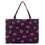 Pattern Of Vampire Mouths And Fangs Medium Zipper Tote Bag
