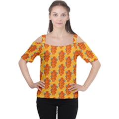 Bugs Eat Autumn Leaf Pattern Women s Cutout Shoulder Tee by CreaturesStore