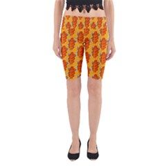 Bugs Eat Autumn Leaf Pattern Yoga Cropped Leggings by CreaturesStore