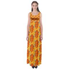Bugs Eat Autumn Leaf Pattern Empire Waist Maxi Dress by CreaturesStore