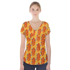 Bugs Eat Autumn Leaf Pattern Short Sleeve Front Detail Top by CreaturesStore