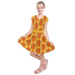 Bugs Eat Autumn Leaf Pattern Kids  Short Sleeve Dress by CreaturesStore