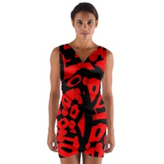 Red design Wrap Front Bodycon Dress by Valentinaart