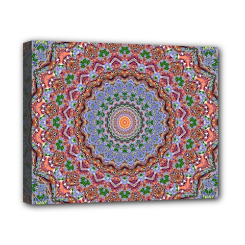 Abstract Painting Mandala Salmon Blue Green Canvas 10  X 8  by EDDArt