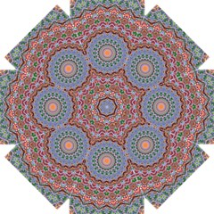 Abstract Painting Mandala Salmon Blue Green Straight Umbrellas by EDDArt