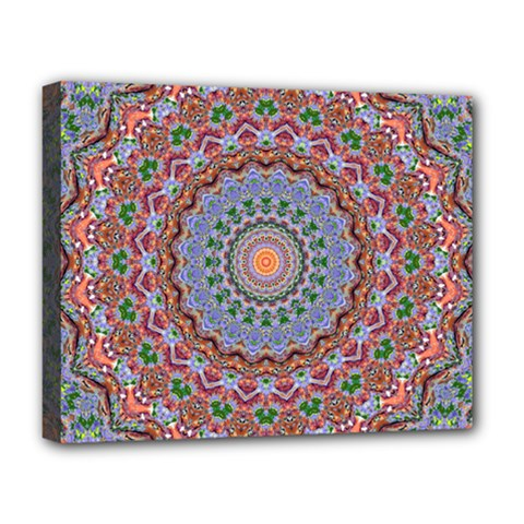 Abstract Painting Mandala Salmon Blue Green Deluxe Canvas 20  X 16   by EDDArt
