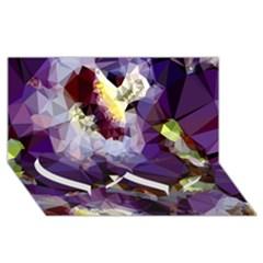 Purple Abstract Geometric Dream Twin Heart Bottom 3d Greeting Card (8x4) by DanaeStudio