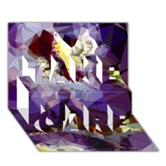 Purple Abstract Geometric Dream Take Care 3d Greeting Card (7x5) by DanaeStudio