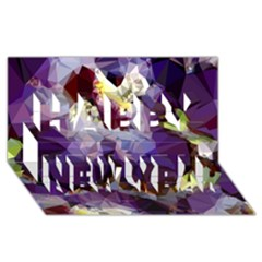 Purple Abstract Geometric Dream Happy New Year 3d Greeting Card (8x4) by DanaeStudio