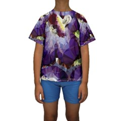 Purple Abstract Geometric Dream Kids  Short Sleeve Swimwear by DanaeStudio