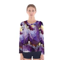 Purple Abstract Geometric Dream Women s Long Sleeve Tee by DanaeStudio