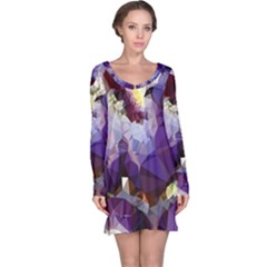 Purple Abstract Geometric Dream Long Sleeve Nightdress by DanaeStudio
