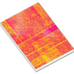 Yello And Magenta Lace Texture Large Memo Pads by DanaeStudio