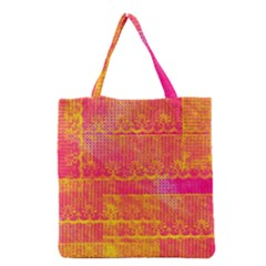 Yello And Magenta Lace Texture Grocery Tote Bag by DanaeStudio