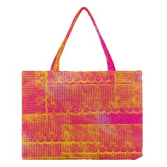 Yello And Magenta Lace Texture Medium Tote Bag by DanaeStudio