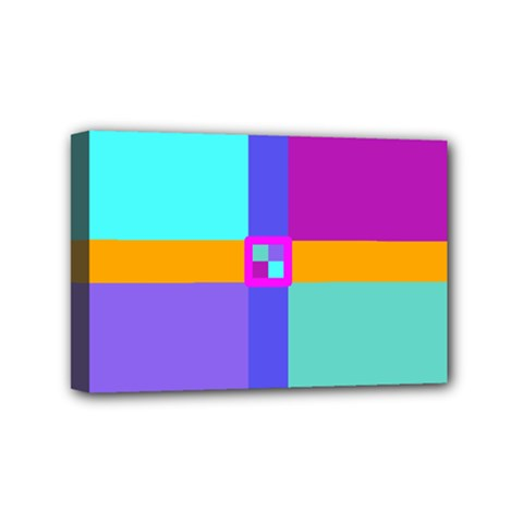 Right Angle Squares Stripes Cross Colored Mini Canvas 6  X 4  by EDDArt