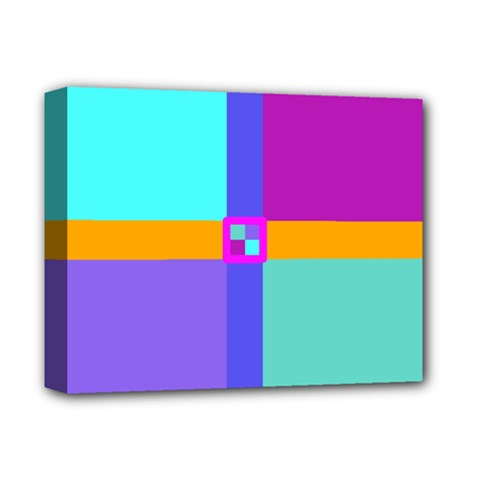Right Angle Squares Stripes Cross Colored Deluxe Canvas 14  X 11  by EDDArt
