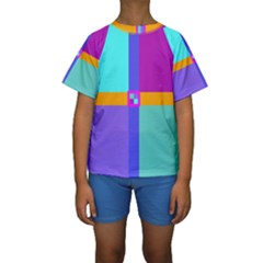 Right Angle Squares Stripes Cross Colored Kids  Short Sleeve Swimwear by EDDArt