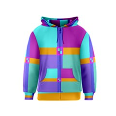 Right Angle Squares Stripes Cross Colored Kids  Zipper Hoodie by EDDArt