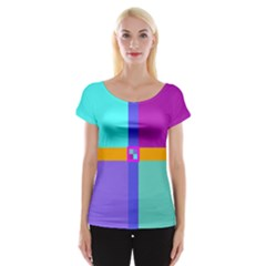 Right Angle Squares Stripes Cross Colored Women s Cap Sleeve Top by EDDArt