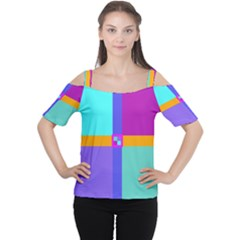 Right Angle Squares Stripes Cross Colored Women s Cutout Shoulder Tee by EDDArt