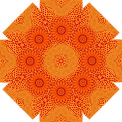 Lotus Fractal Flower Orange Yellow Straight Umbrellas by EDDArt
