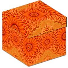 Lotus Fractal Flower Orange Yellow Storage Stool 12   by EDDArt