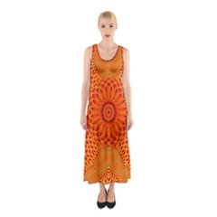 Lotus Fractal Flower Orange Yellow Sleeveless Maxi Dress by EDDArt