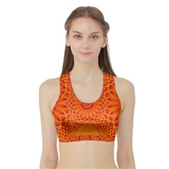 Lotus Fractal Flower Orange Yellow Sports Bra With Border by EDDArt