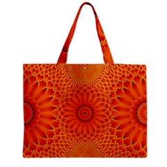 Lotus Fractal Flower Orange Yellow Medium Zipper Tote Bag by EDDArt