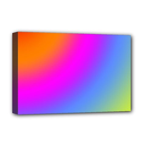 Radial Gradients Red Orange Pink Blue Green Deluxe Canvas 18  X 12   by EDDArt