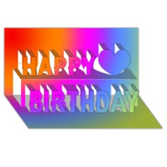 Radial Gradients Red Orange Pink Blue Green Happy Birthday 3d Greeting Card (8x4) by EDDArt