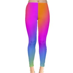 Radial Gradients Red Orange Pink Blue Green Leggings  by EDDArt