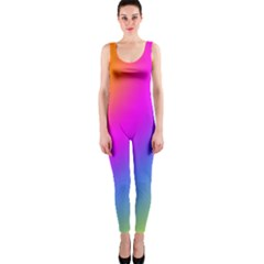 Radial Gradients Red Orange Pink Blue Green Onepiece Catsuit by EDDArt