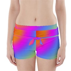 Radial Gradients Red Orange Pink Blue Green Boyleg Bikini Wrap Bottoms by EDDArt