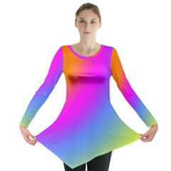 Radial Gradients Red Orange Pink Blue Green Long Sleeve Tunic  by EDDArt
